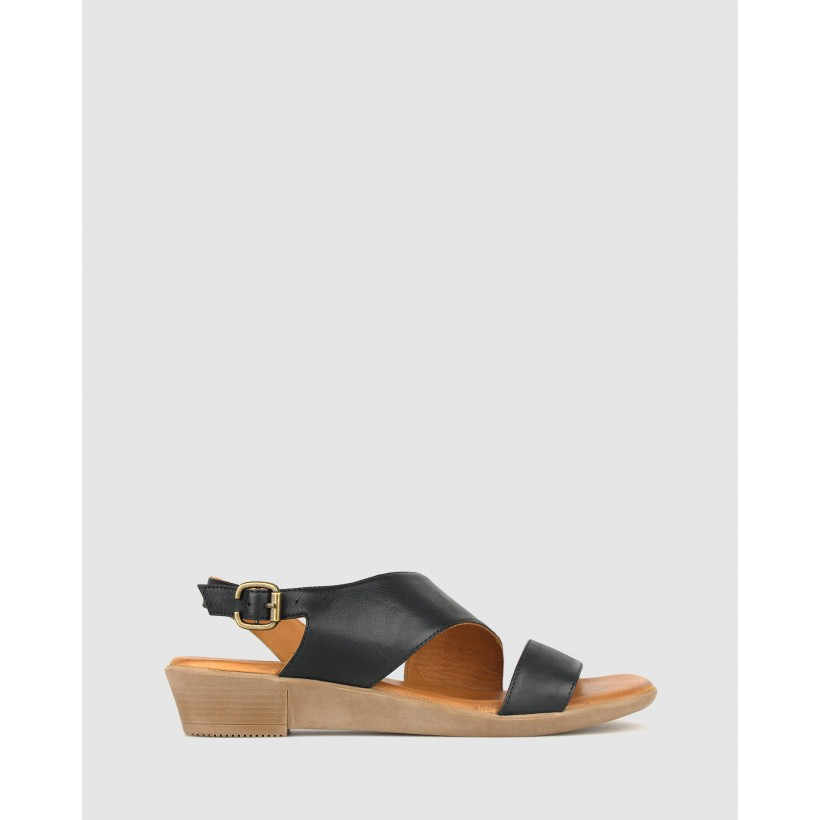 Bingle Leather Wedge Sandals Black by Airflex