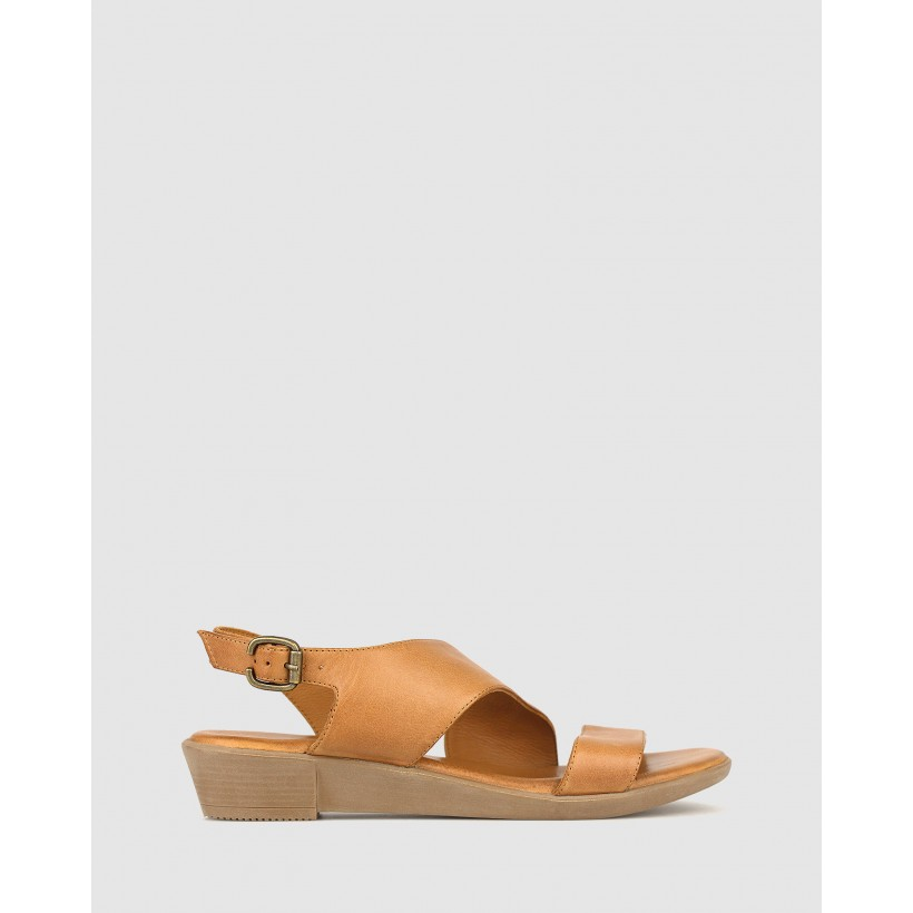 Bingle Leather Wedge Sandals Tan by Airflex