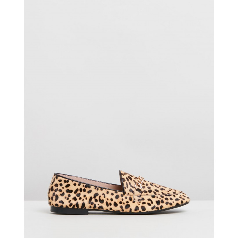 Evelyn Leather Loafers Leopard Ponyhair by Atmos&Here