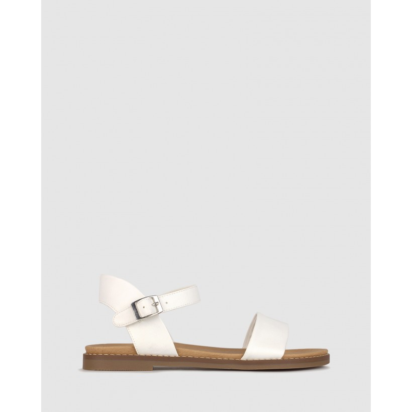Atlas Footbed Sandals White by Betts