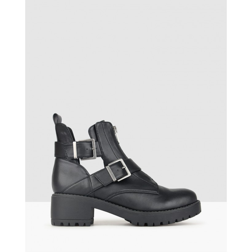 Berserk Chunky Buckle Boots Black by Betts