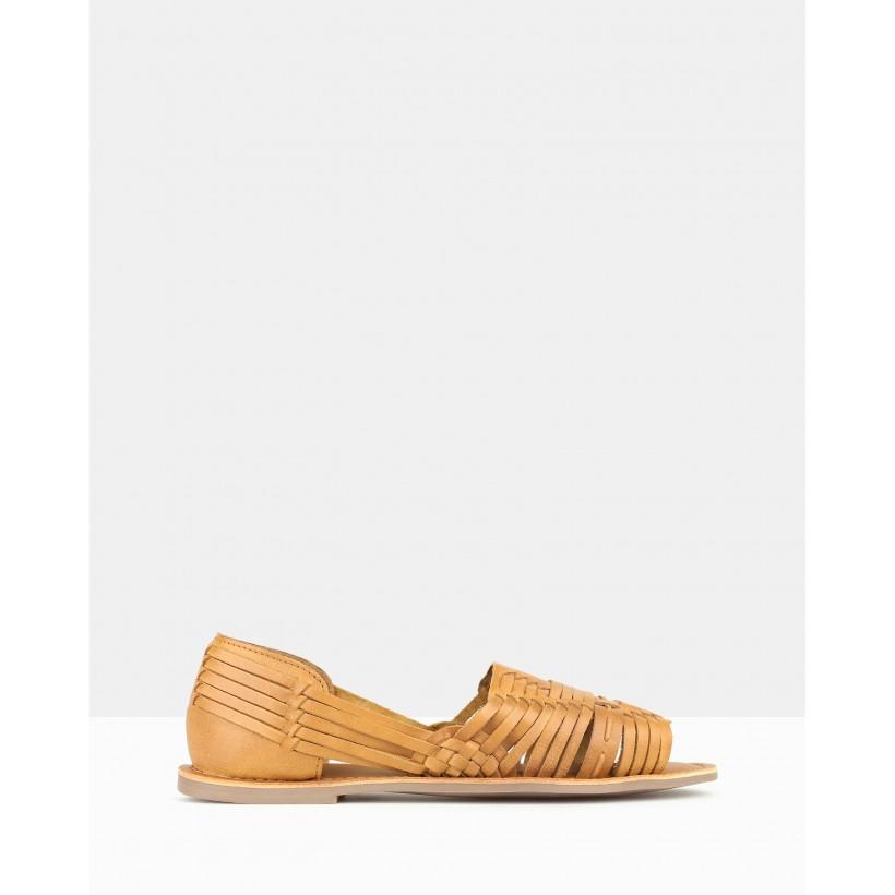 Athena Leather Huarache Flats Tan by Betts