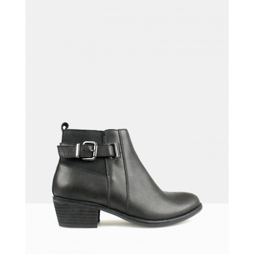 Bootscoot Leather Ankle Boots Black by Betts