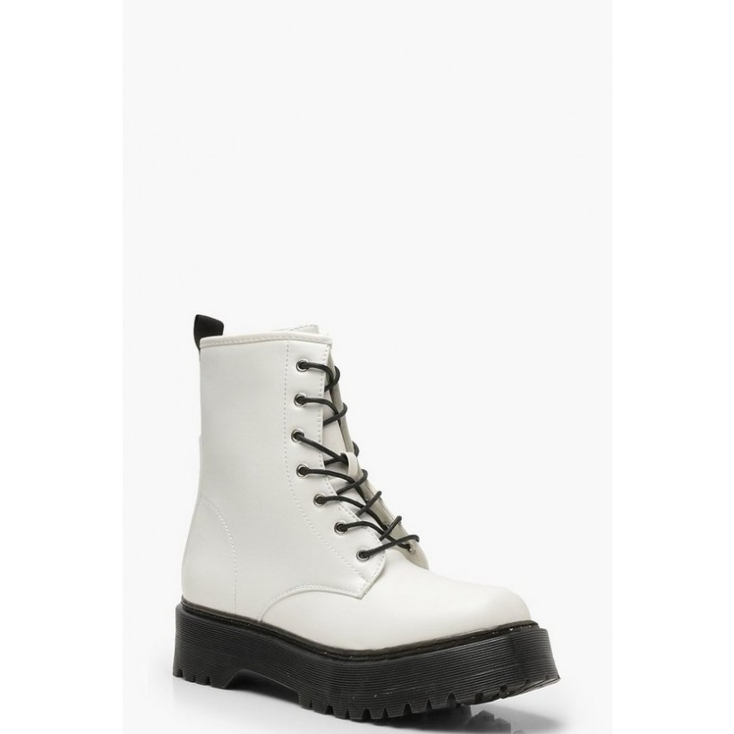 Chunky Lace Up Hiker Boots in White