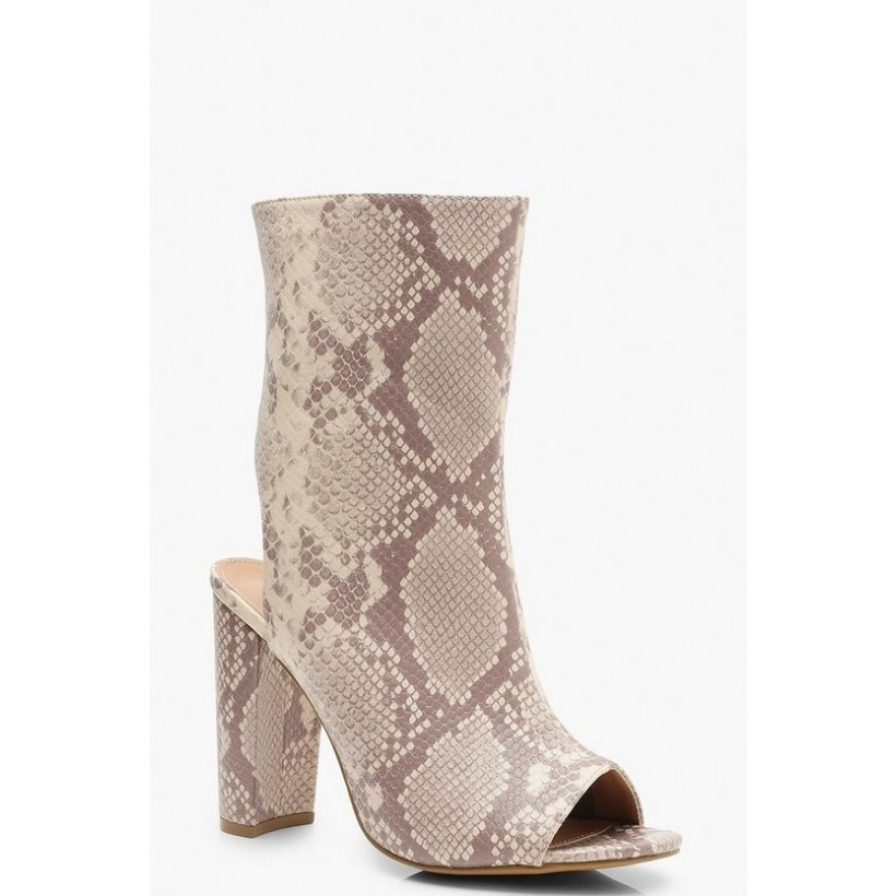 Extra Wide Fit Snake Peeptoe Shoe Boots in Nude