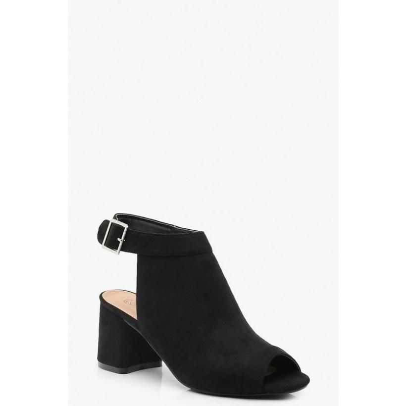Extra Wide Fit Peeptoe Shoe Boots in Black