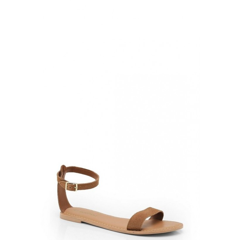 2 Part Suede Sandals in Tan