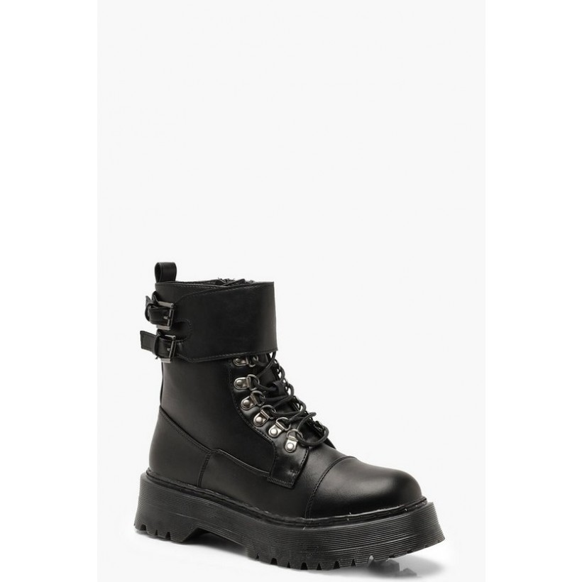 Chunky Lace Up Hiker Boots in Black