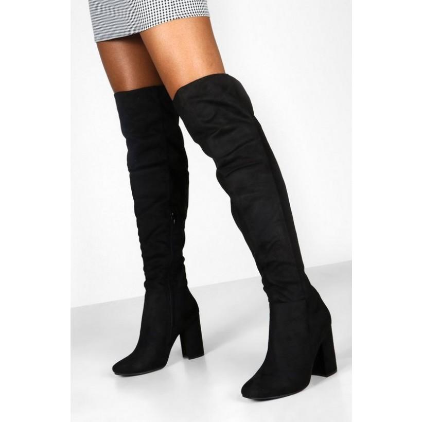 Block Heel Over The Knee Boots in Black