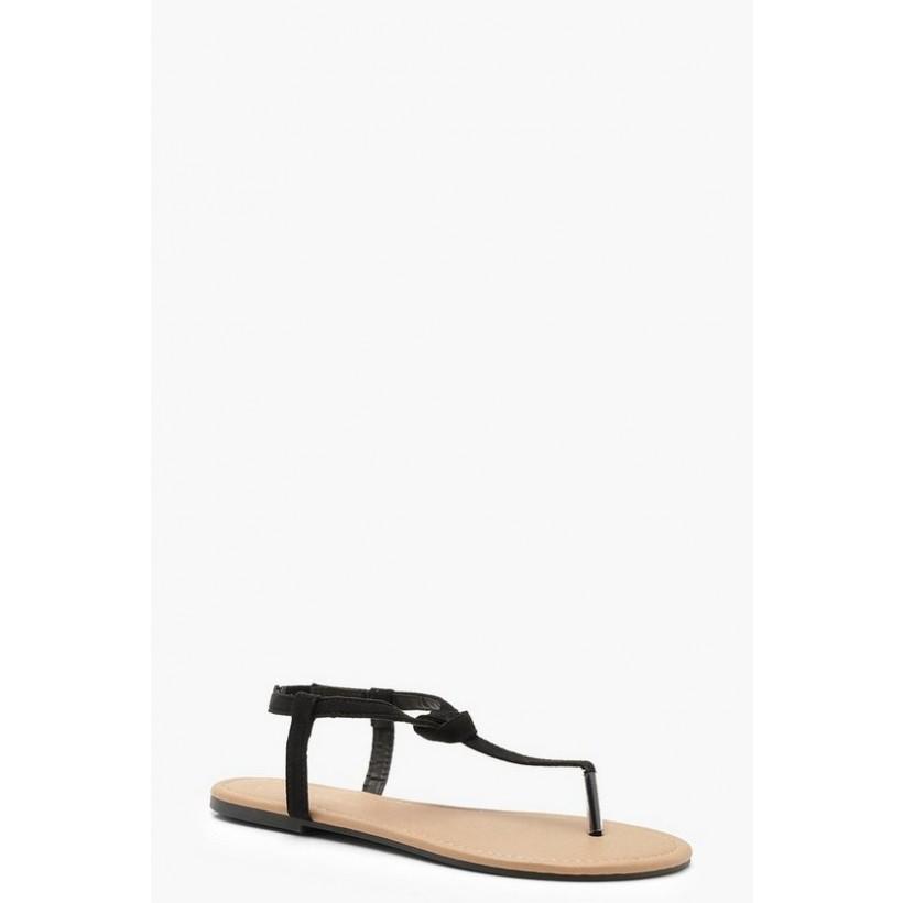 Basic Toe Post Sandals in Black