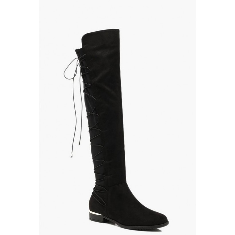 Bungee Lace Back Knee High Boots in Black