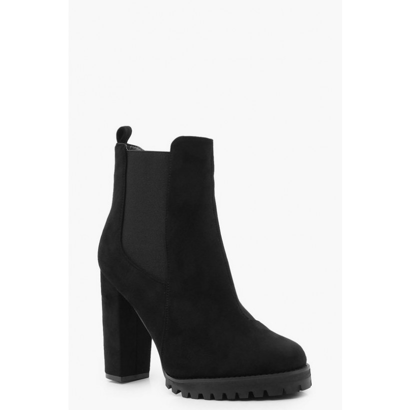 Cleated Platform Suedette Pull On Chelsea Boots in Black