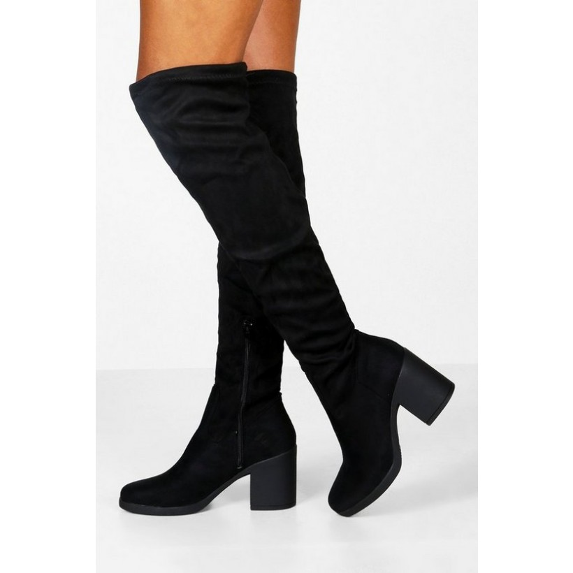 Chunky Over the Knee Boots in Black