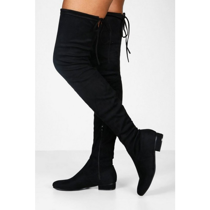 Flat Tie Back Thigh High Boots in Black