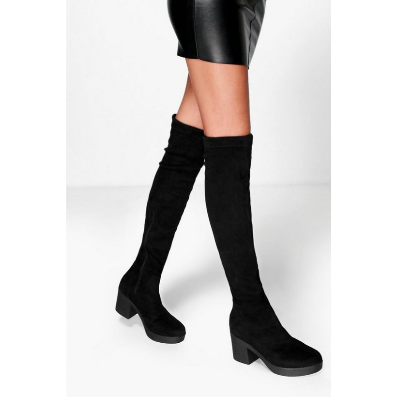 Cleated Stretch Over The Knee Boots in Black