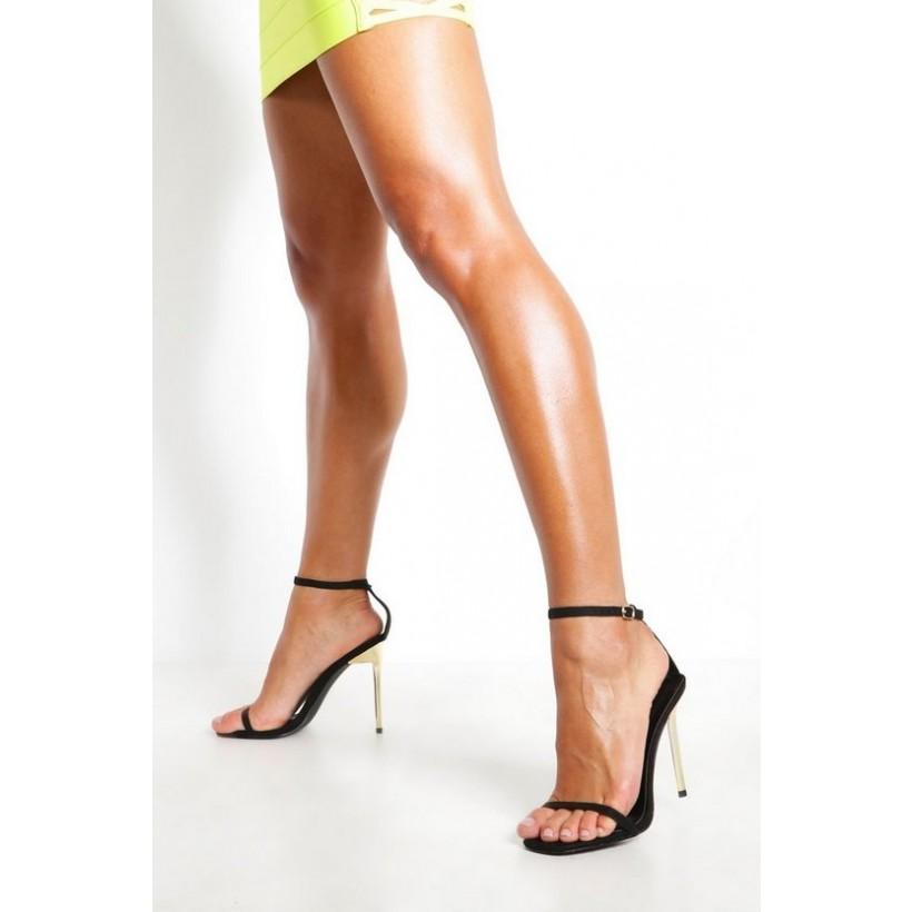 2 Part Interest Stiletto Heels in Black