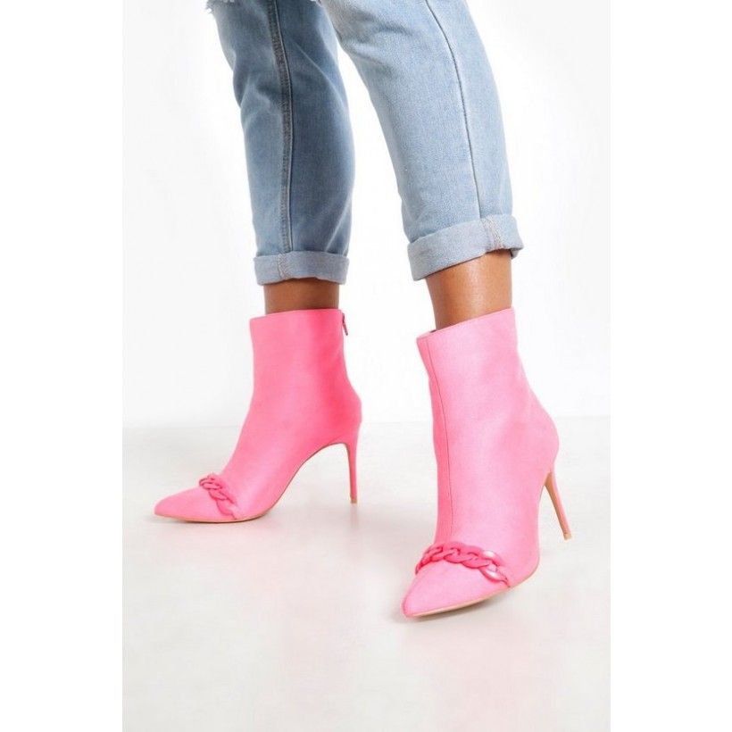 Chain Trim Pointed Shoe Boots in Pink