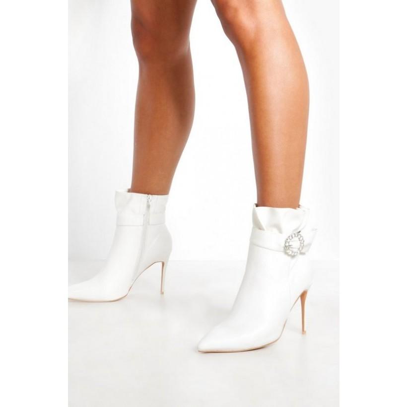Diamante Buckle Shoe Boots in White