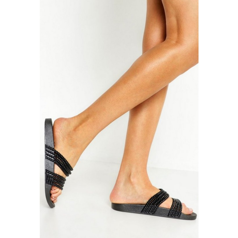 Bead Strap Sliders in Black