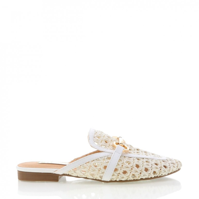 Odie White Woven by Billini Shoes