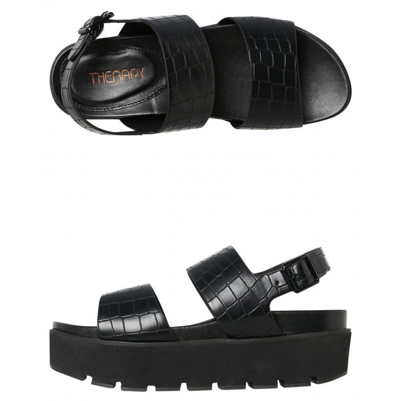 Womens Tama Platform Black Croc By THERAPY