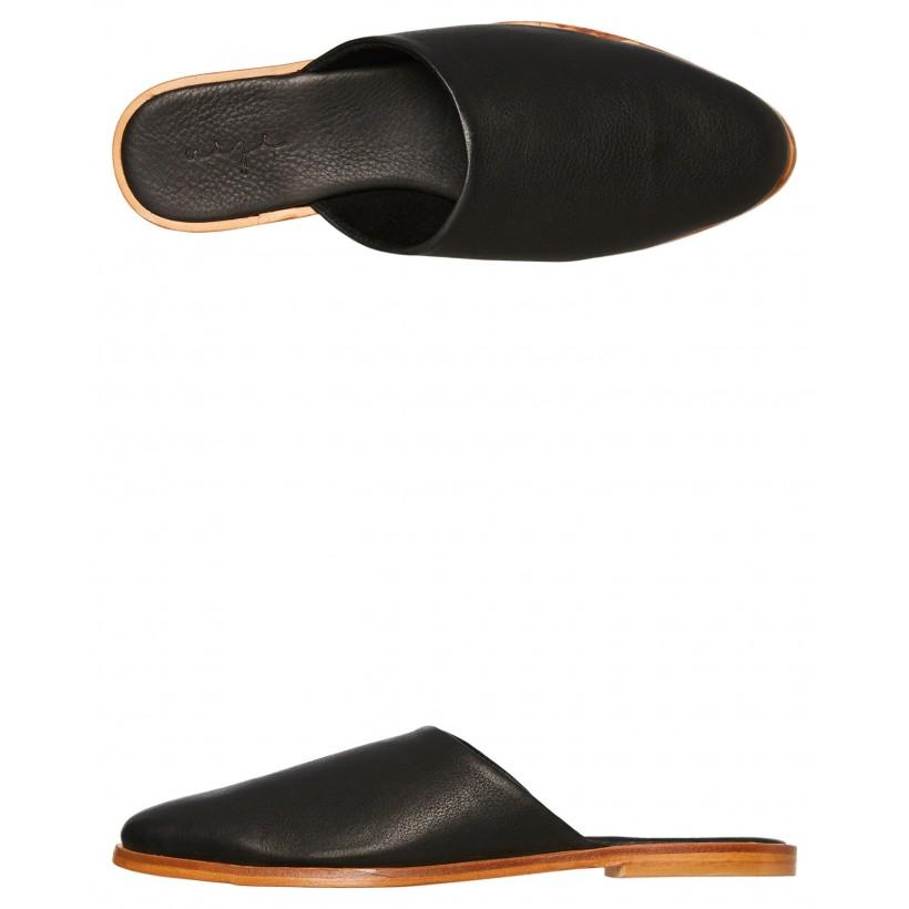 Womens Loui Slide Black Leather