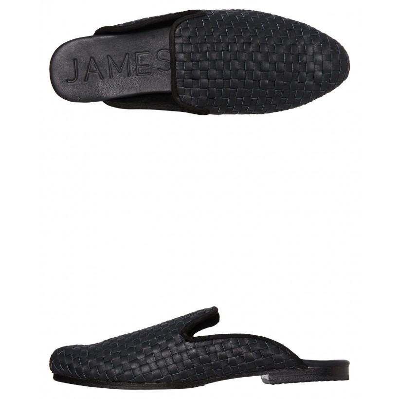 Womens Steet Woven Slipper Black Leather Woven