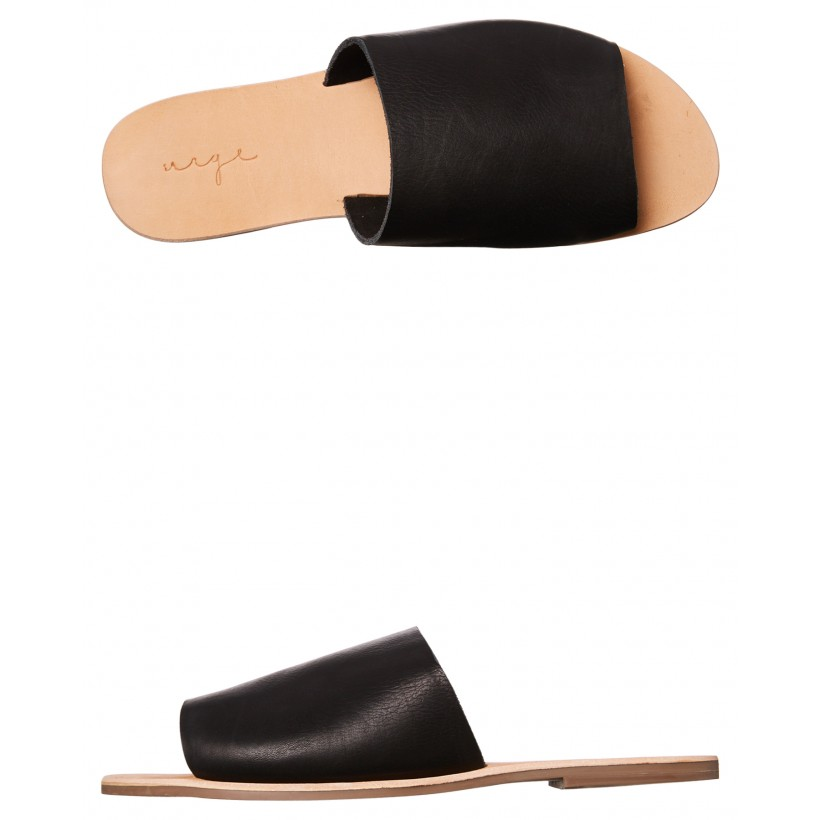 Womens Molly Leather Slide Black Milled By URGE