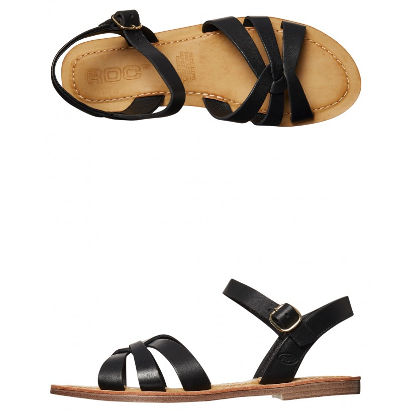 Rio Womens Leather Sandal Black Natural By ROC BOOTS AUSTRALIA
