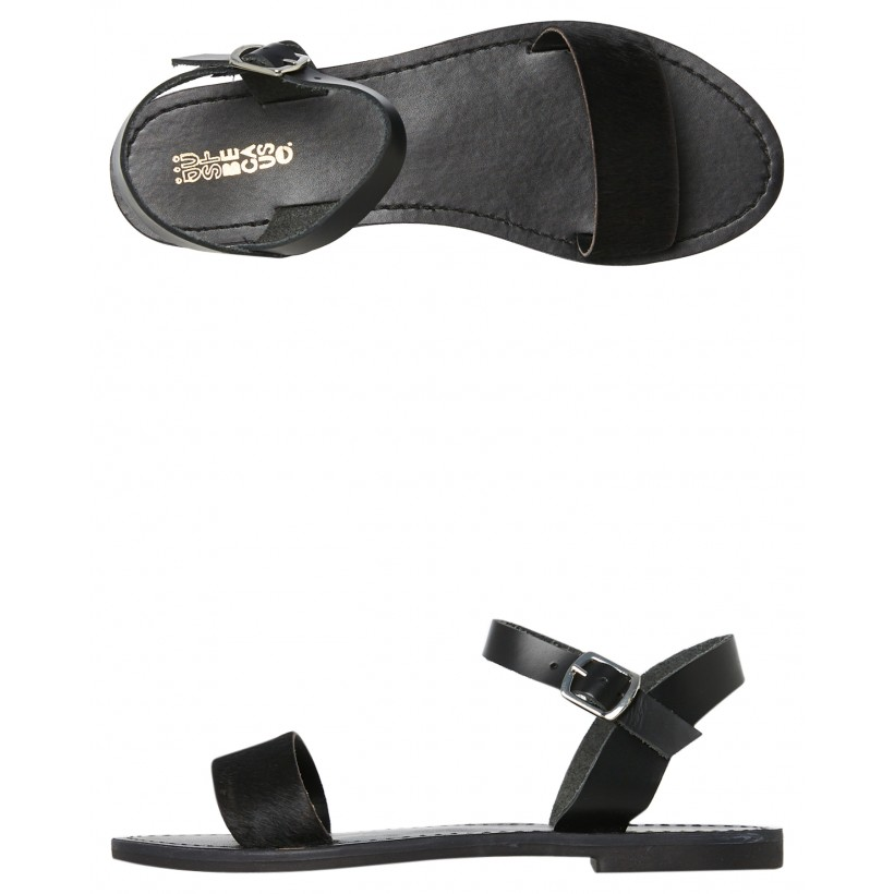 Womens Mamuca Leather Sandal Black Pony By JUST BECAUSE