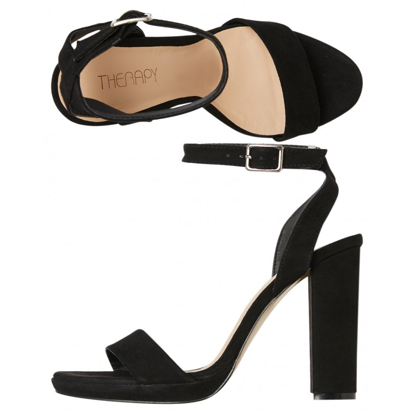 Womens Zephyr Heel Black Suede By THERAPY