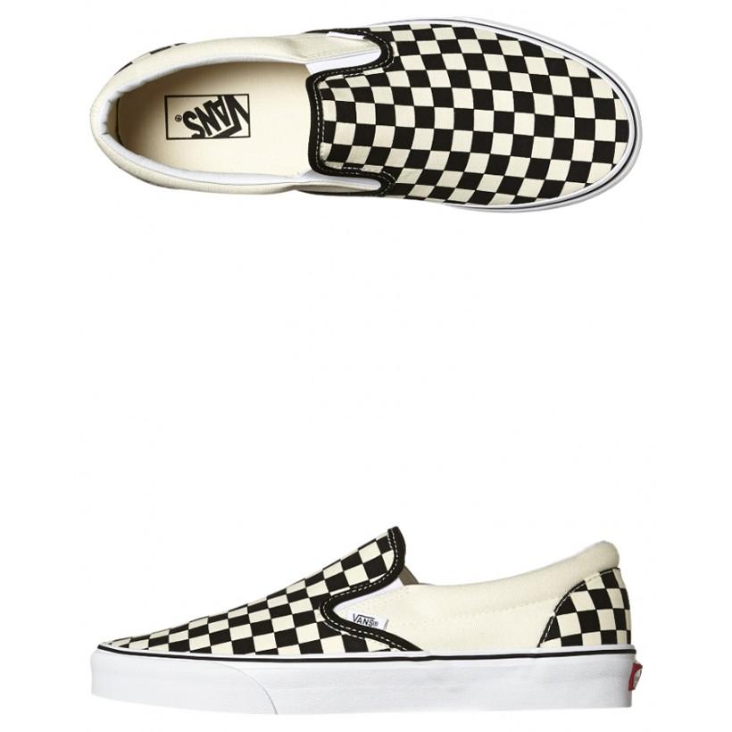 10b6201f8f9 Black White Coloured Womens Classic Slip On Shoe Black White By VANS ...