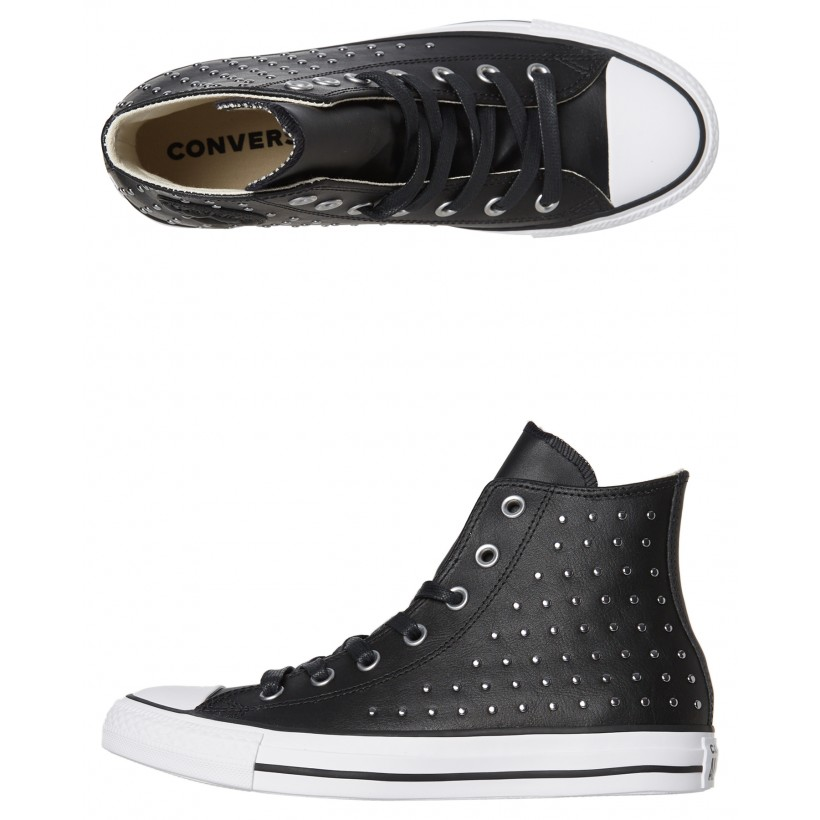Chuck Taylor All Star Leather Stud Hi Shoe Black By CONVERSE