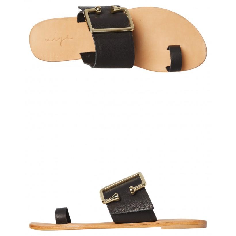 Peony Leather Sandal Black By URGE