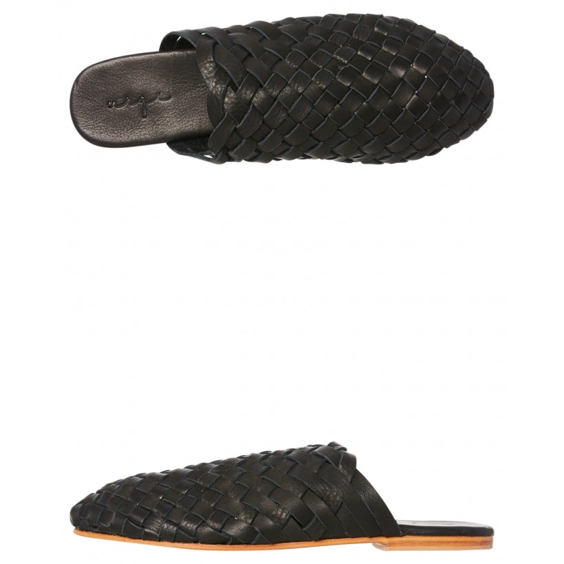 Opi Woven Leather Slide Black By URGE