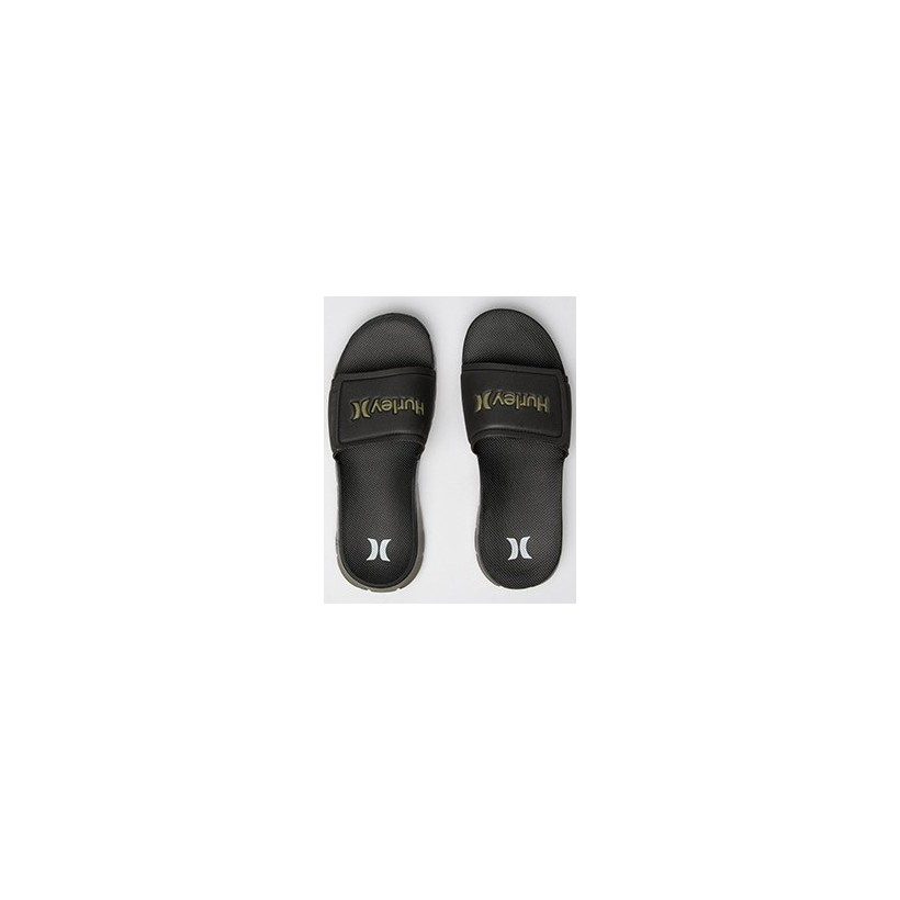 2.0 Fusion Slides in Black/White/Olive by Hurley