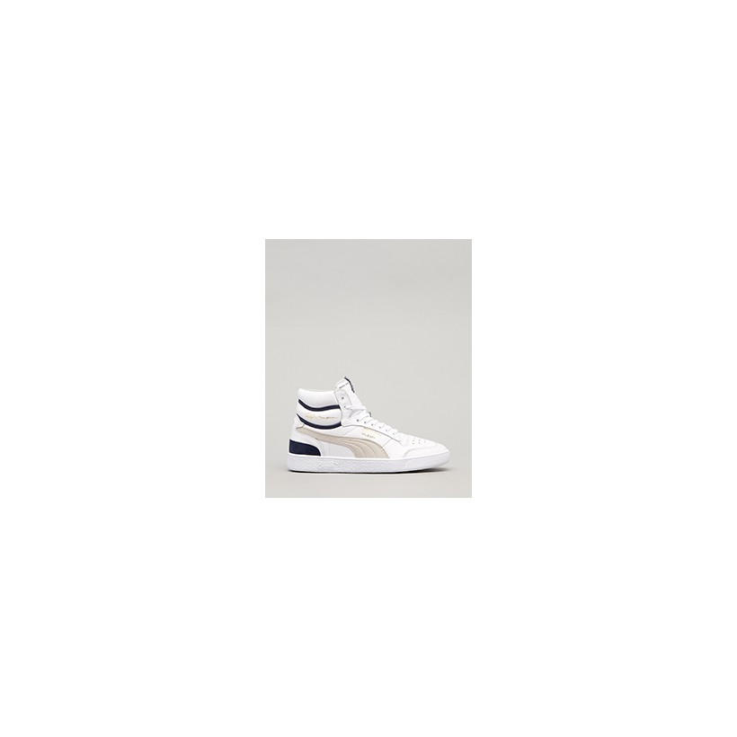 """Ralph Sampson Mid OG Shoes in """"Puma White-Grey/Viol/Pea""""  by Puma"""
