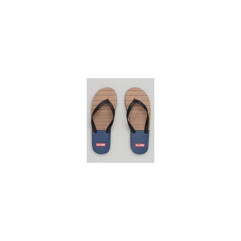 """Indy Thongs in """"Tan/Navy""""  by Globe"""
