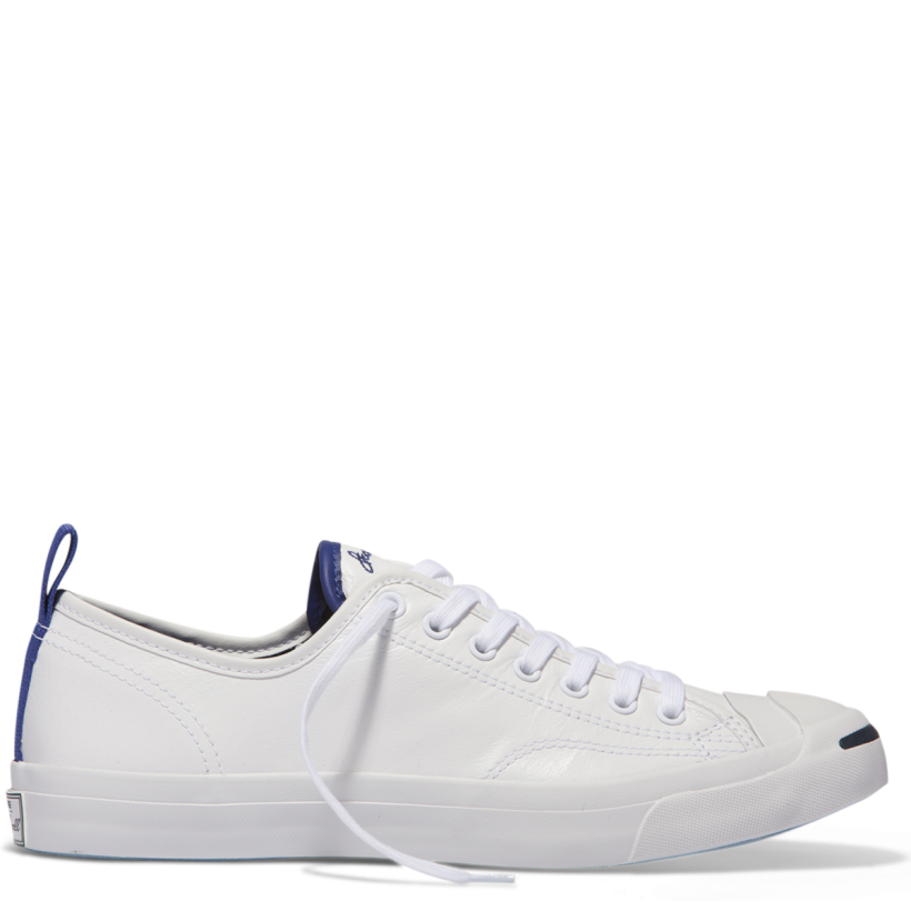 Jack Purcell Tumbled Leather Low Top White-True Indigo