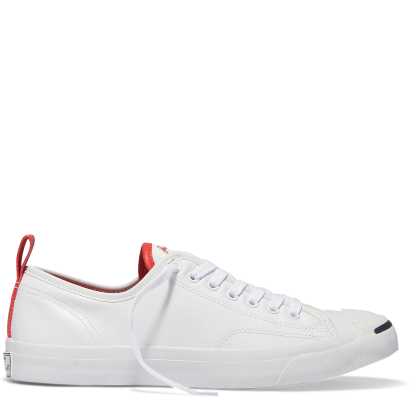 Jack Purcell Tumbled Leather Low Top White-Ultra Red