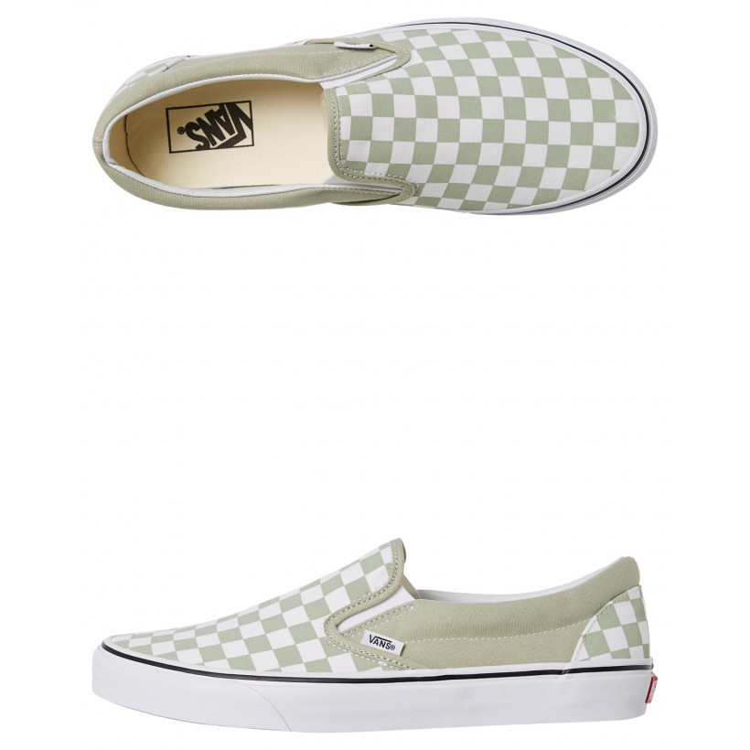 Womens Classic Slip On Shoe Desert Sage White By VANS