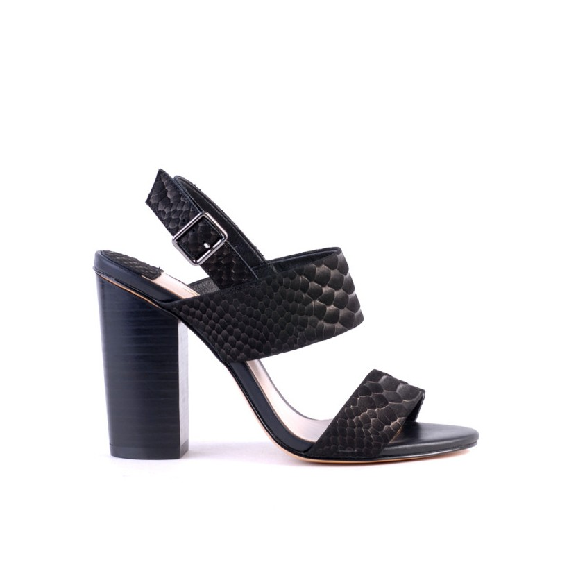 Goddess - Black Embossed Leather by Siren Shoes