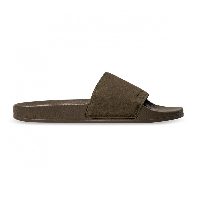 SUEDE POOL SLIDES Green Military
