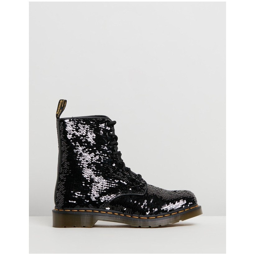 1460 Pascal Sequin Boots - Women's Black & Silver Sequin by Dr Martens