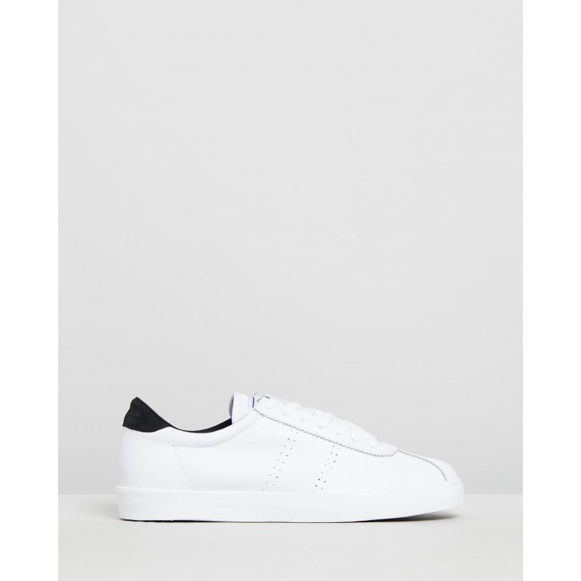2843 Sport Club Sneakers - Unisex White & Black by Superga