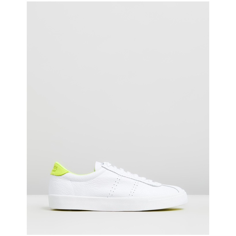 2843 Sport Club Sneakers - Women's White & Yellow by Superga