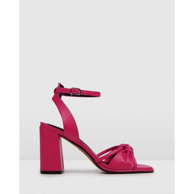 Adia High Sandals Hot Pink Leather by Jo Mercer