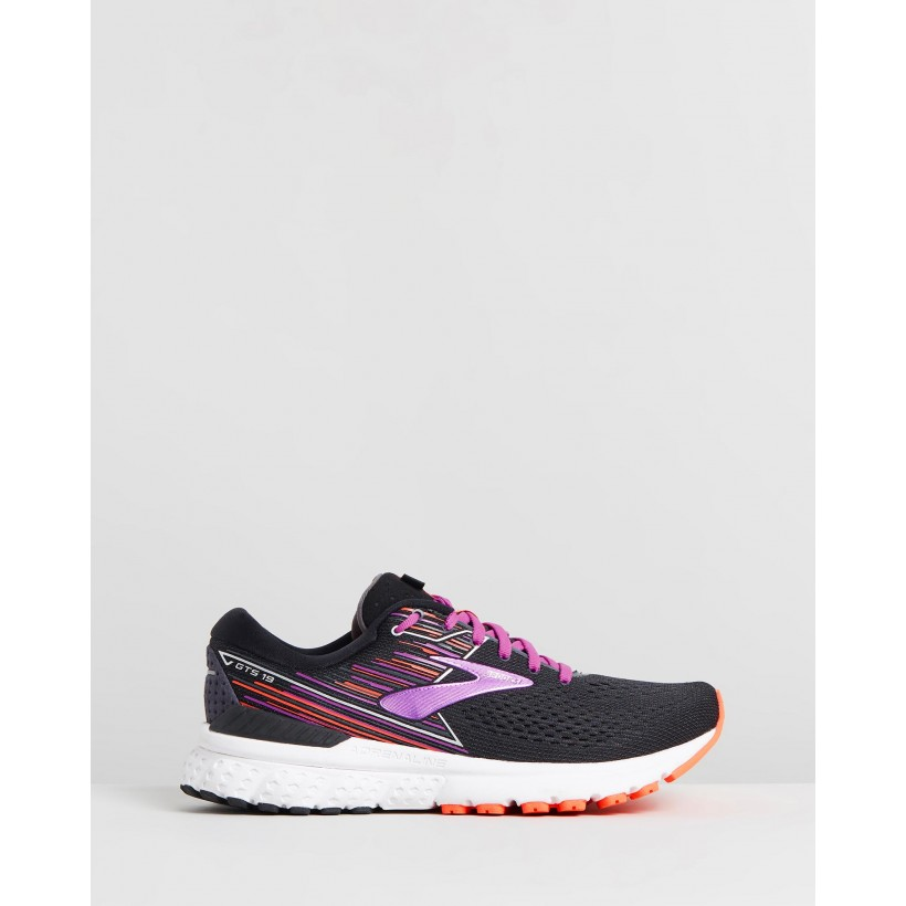 Adrenaline GTS 19 - Women's Black, Purple & Coral by Brooks