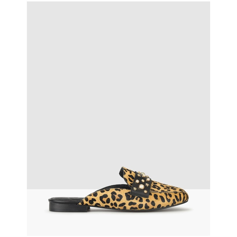 Adrenaline Leather Slip On Loafers Leopard by Zu