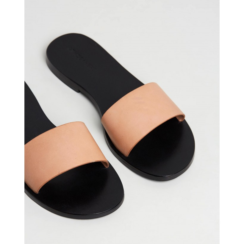 Aileen Leather Slides Nude Leather by Atmos&Here